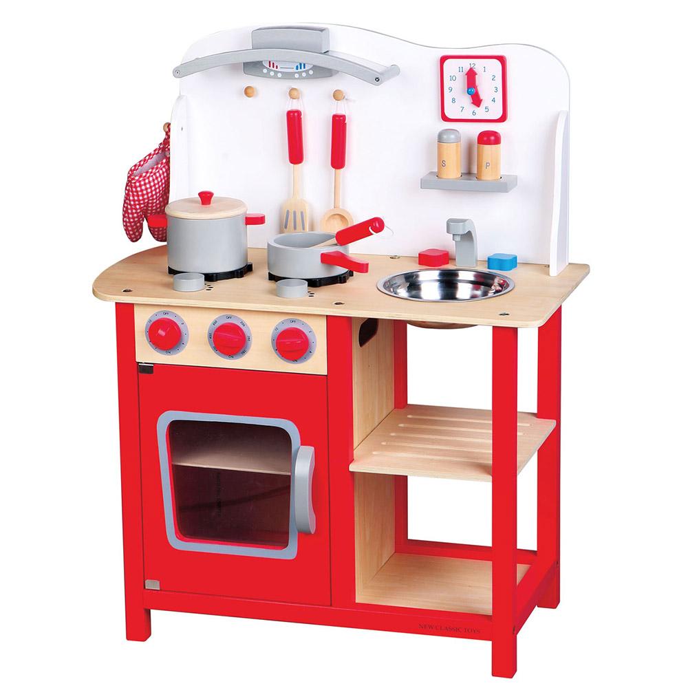 Cucina in Legno con Accessori Rossa - New Classic Toys - I ...